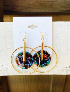 Blue Multi Acrylic Circle Earrings