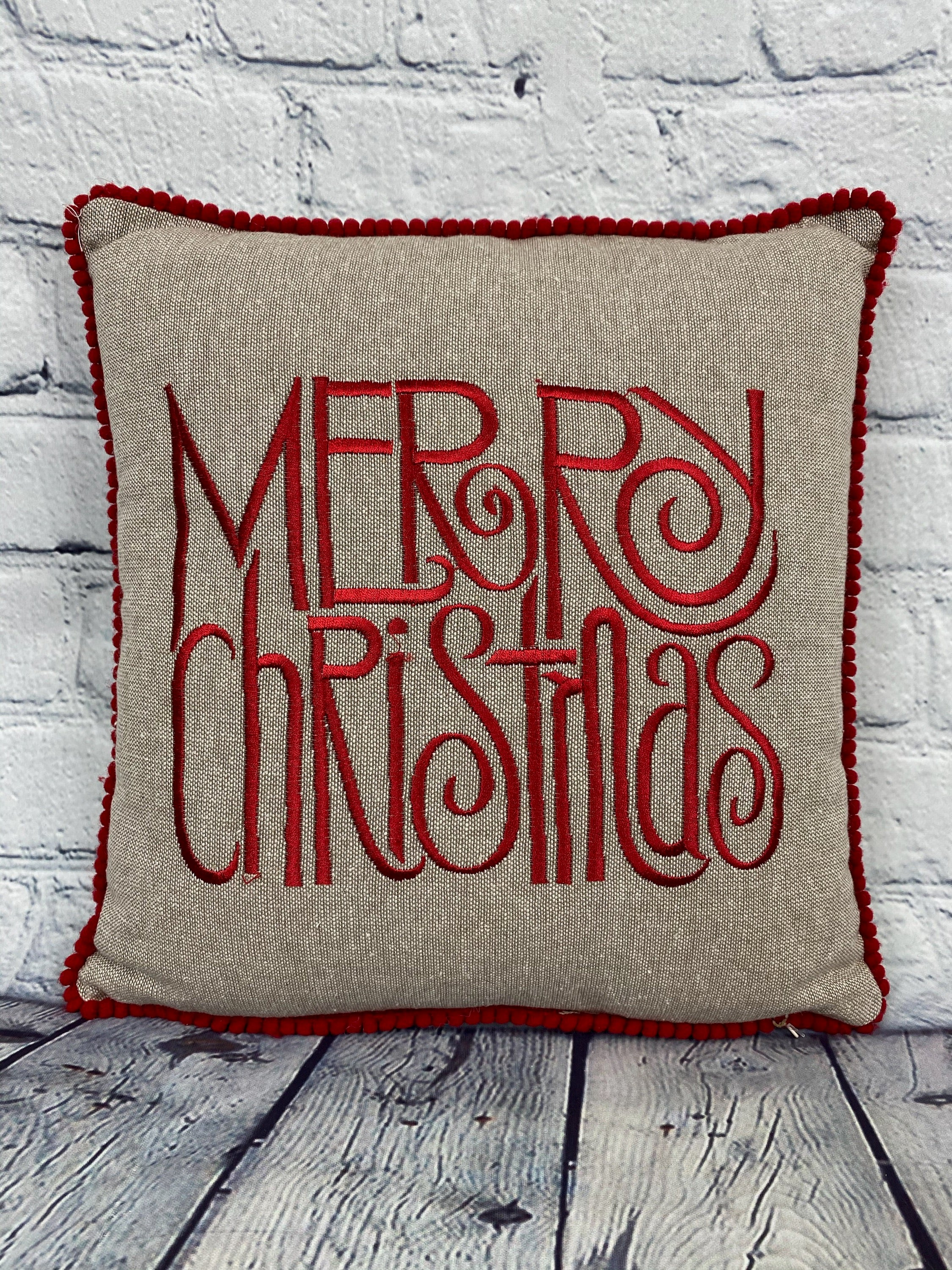 Merry Christmas Canvas Pillow