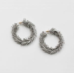 Gray Leather Spike Hoops