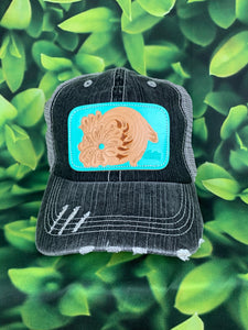 Charcoal Grey Turquoise Leather Patch MS Hat