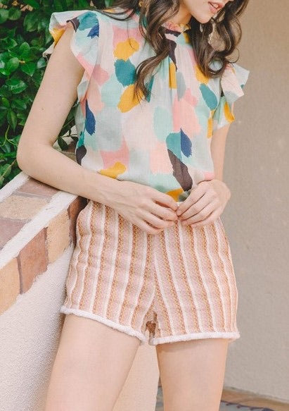 Multi Mixed Flutter Sleeve Blouse