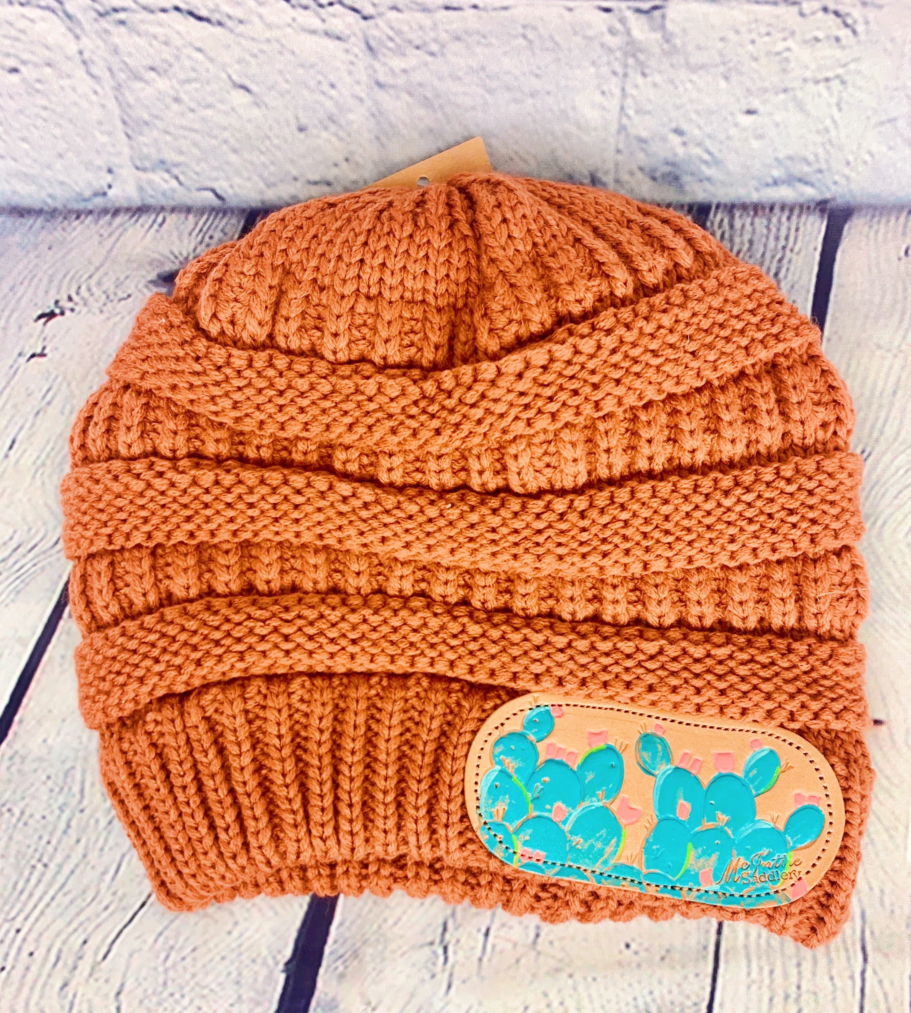 Rust Cactus CC Leather Patch Beanie