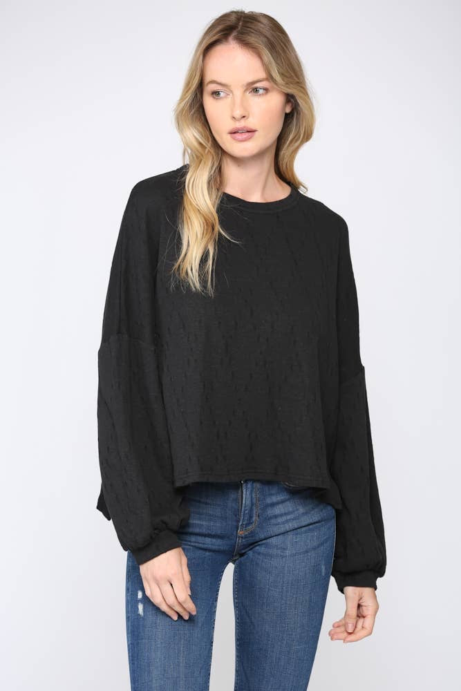 Black Ripped Distressed Linen Blend Top