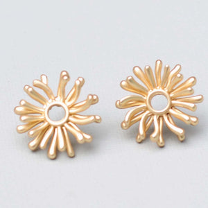 Gold Double Layer Flower Stud