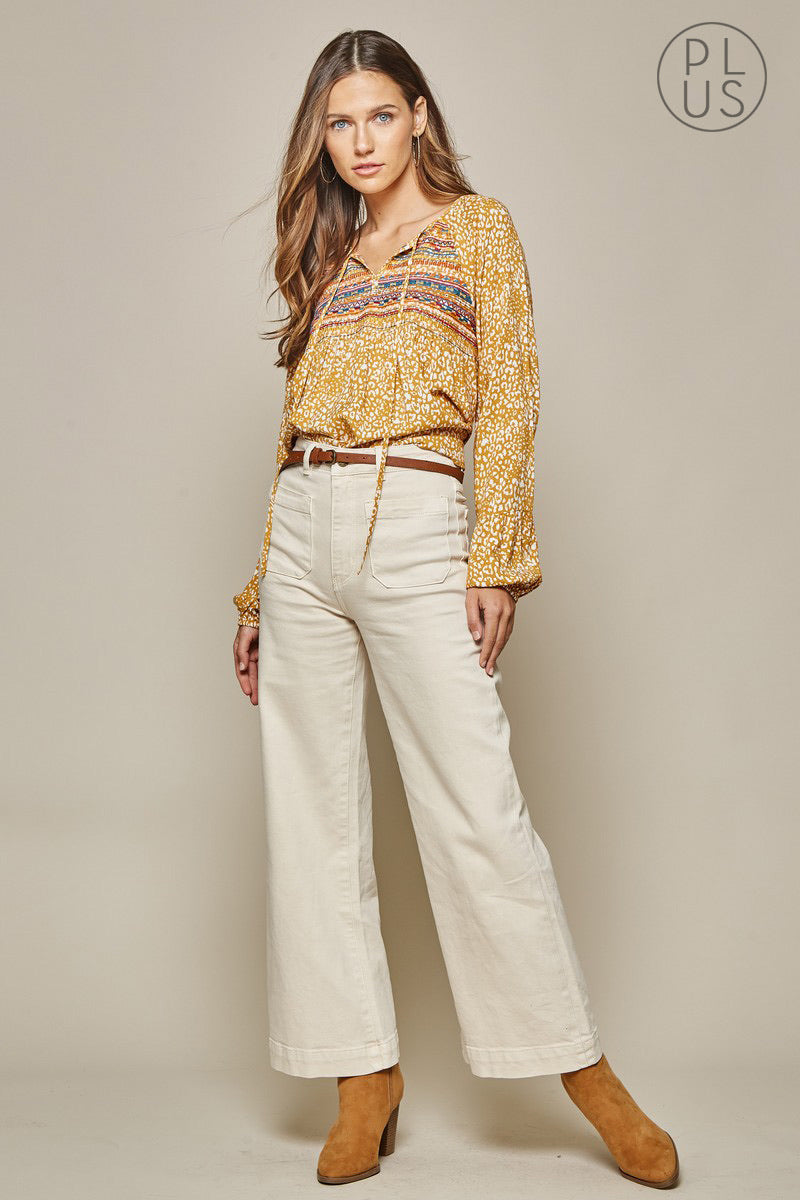 Mustard Spot Embroidered Blouse