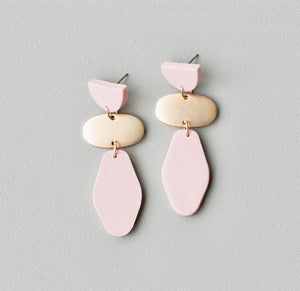 Blush Polymer Clay Drop Earrings