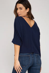 Navy Sequin Blouse