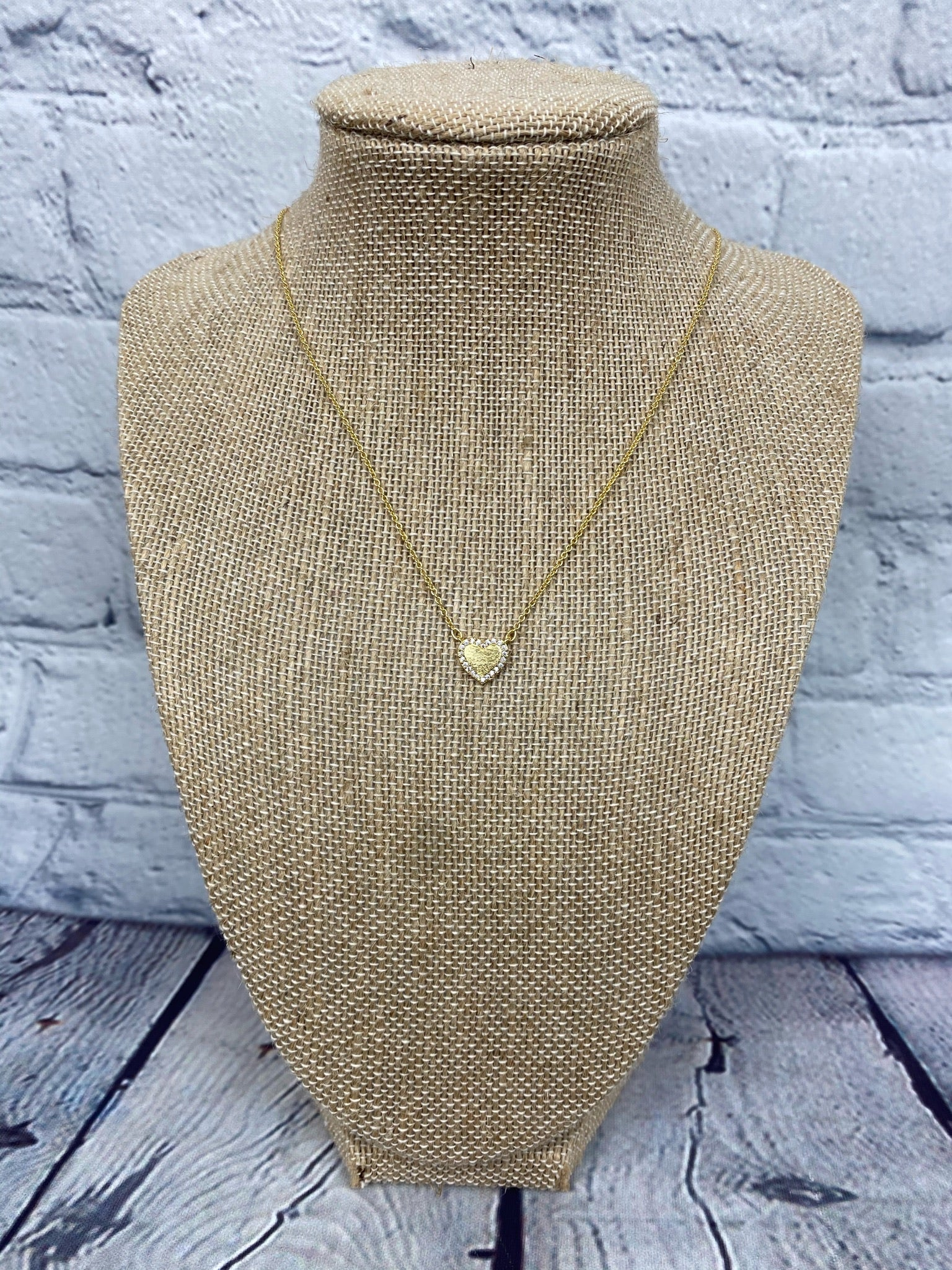 Gold Etched Pave Heart Necklace