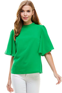 Kelly Green Flutter Sleeve Blouse