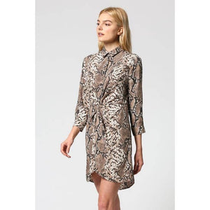 Brown Snake Print Waist Tie Dress