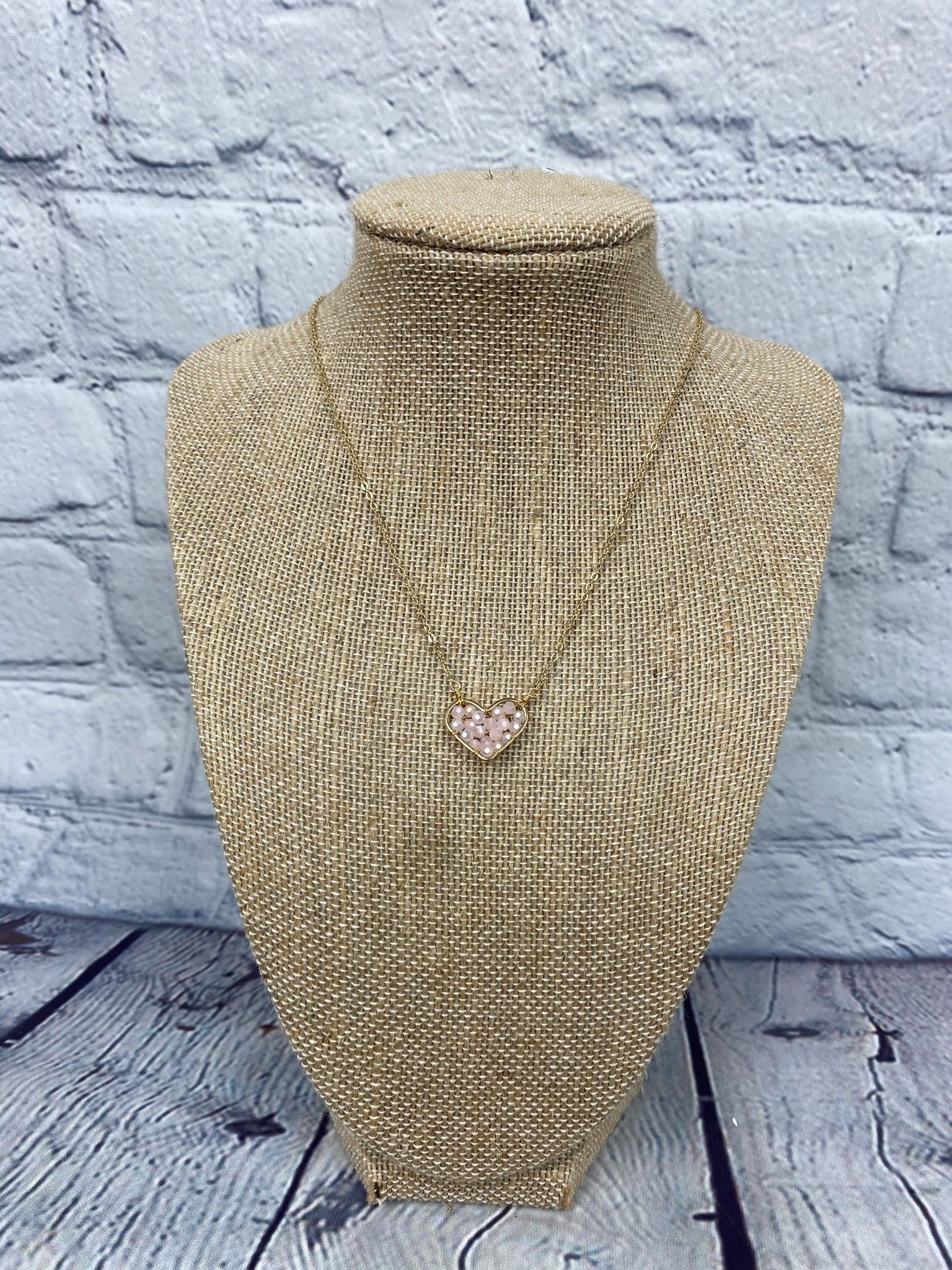 Blush Woven Beaded Heart Necklace