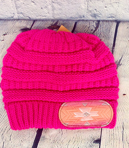 Hot Pink Pendelton CC Leather Patch Beanie