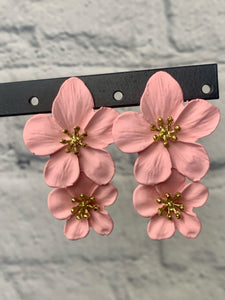Ceramic Baby Pink Floral Drop Earring