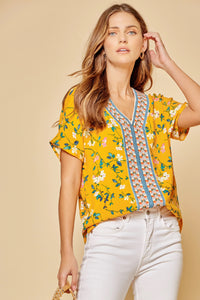 Marigold Floral Short Sleeve V-Neck Top With Embroidery