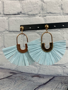 Baby Blue Raffia Fan Earrings