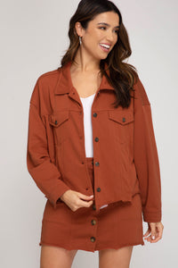 Orange Brick Knit Button Up Jacket