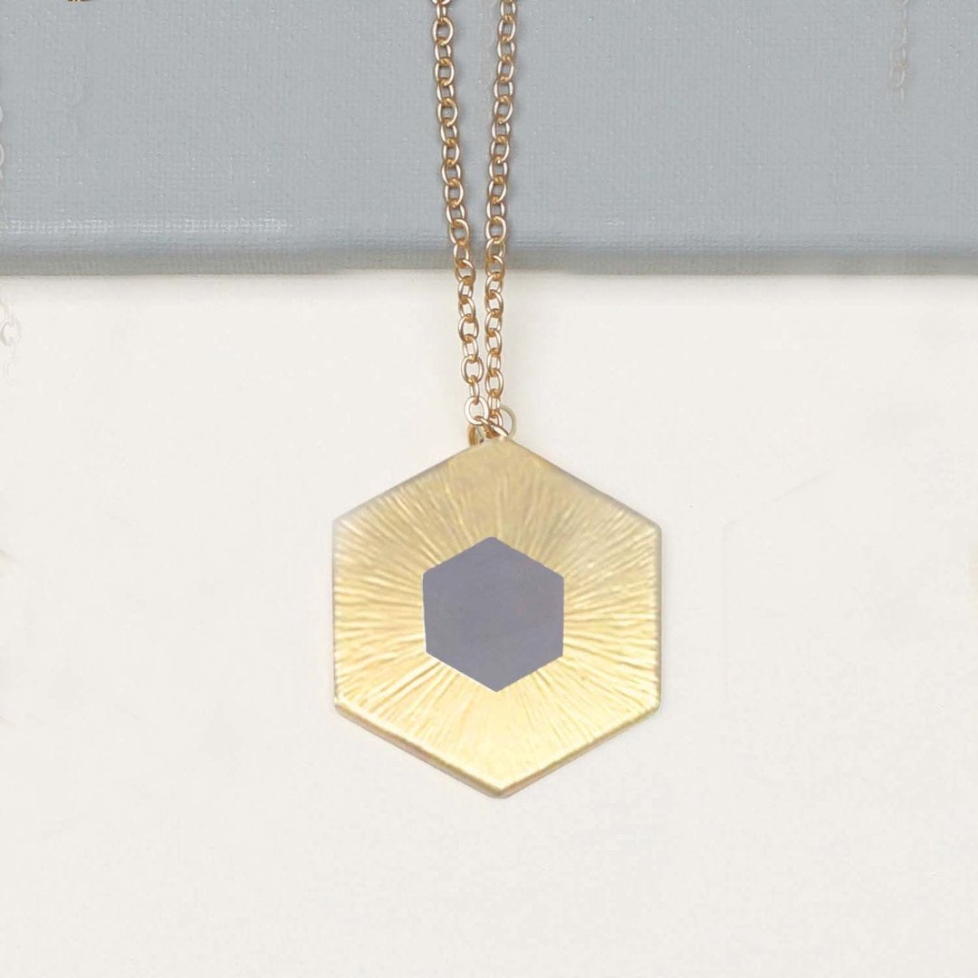 Gray Octagon Gold Necklace