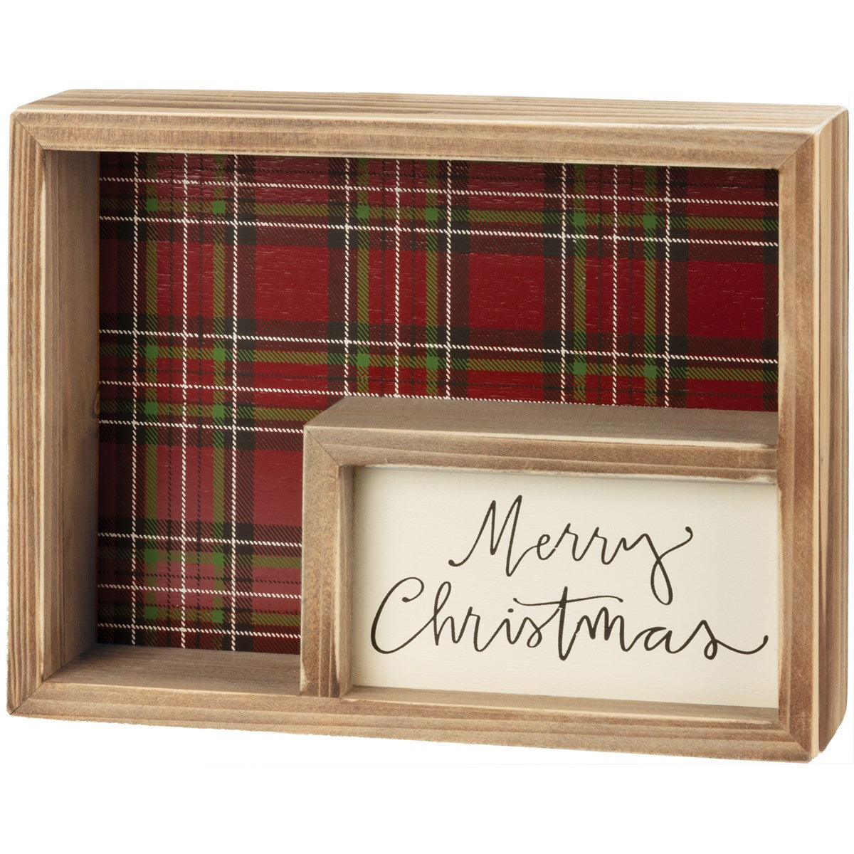 Merry Christmas Inset Wooden Box Sign