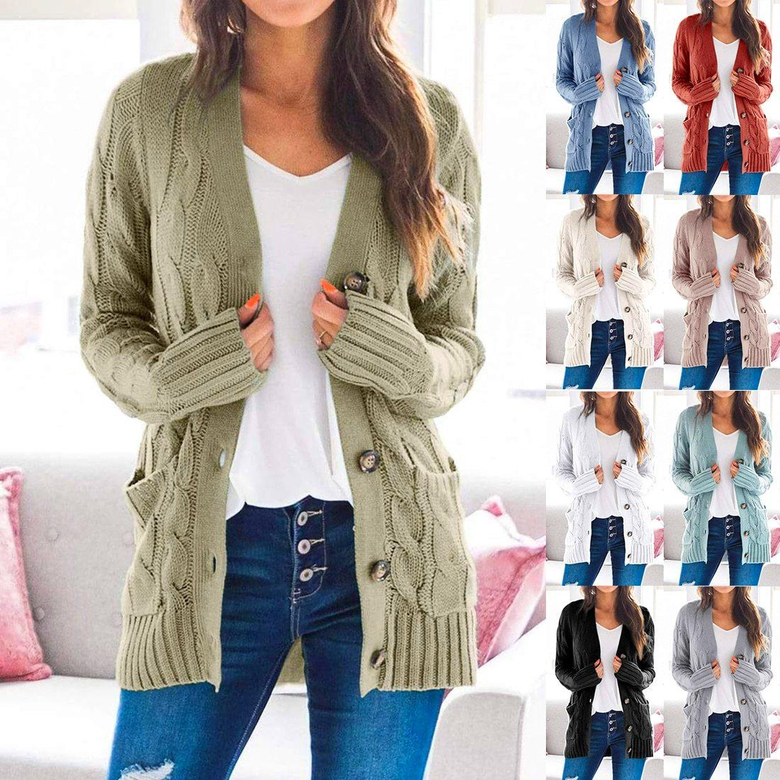 2020 New! Loose Cable Button Solid Sweater Cardigan With Pockets