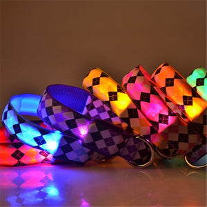 Pet Dog Cat Collar Nylon Lights Collar Light-Emitting LED Pet Collar Dog Collar LED Lights