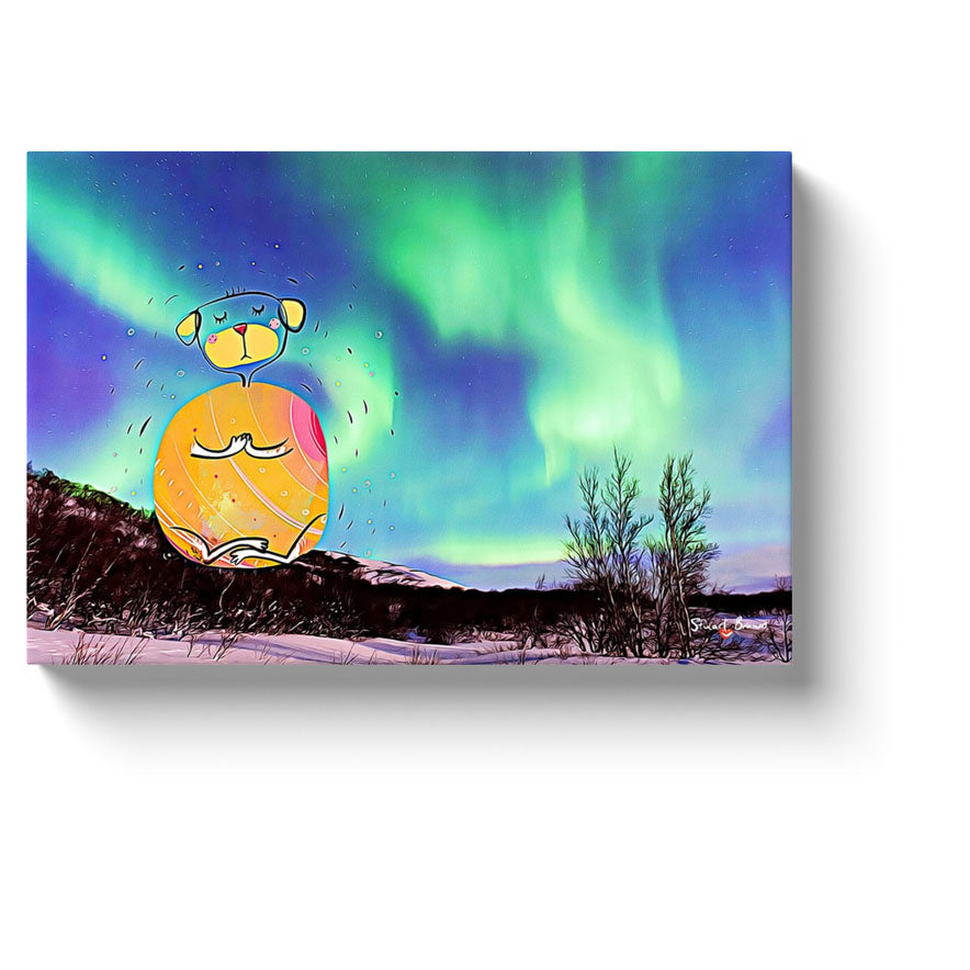 aurora borealis art orange yoga dog meditates under the northern lights canvas print