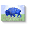 bison art bright blue bison canvas print