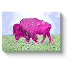 bison art bright pink bison canvas print