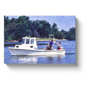 boat art gone fishing on my fishing boat canvas print