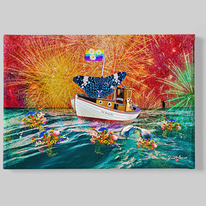 butterfly sailing in a sea of flowers and dolphins wall art print