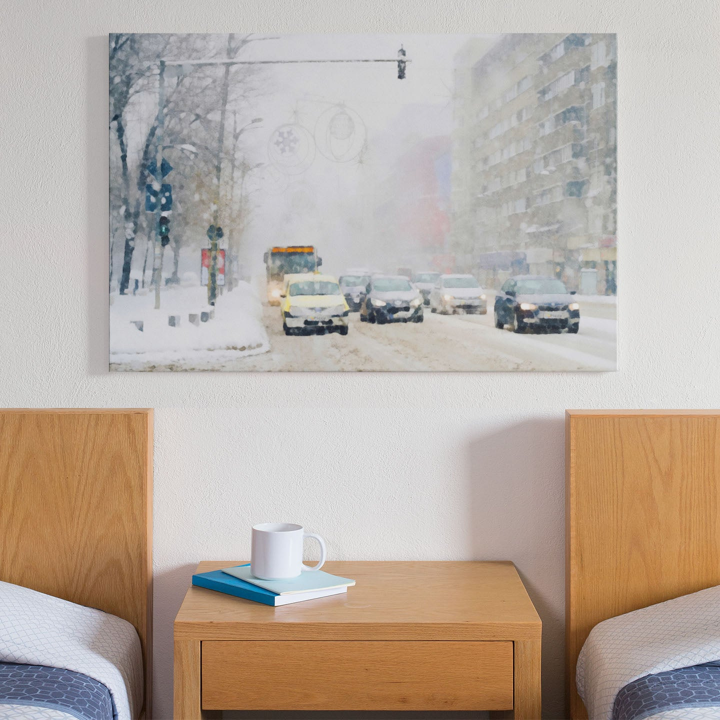 cars in a snow storm print