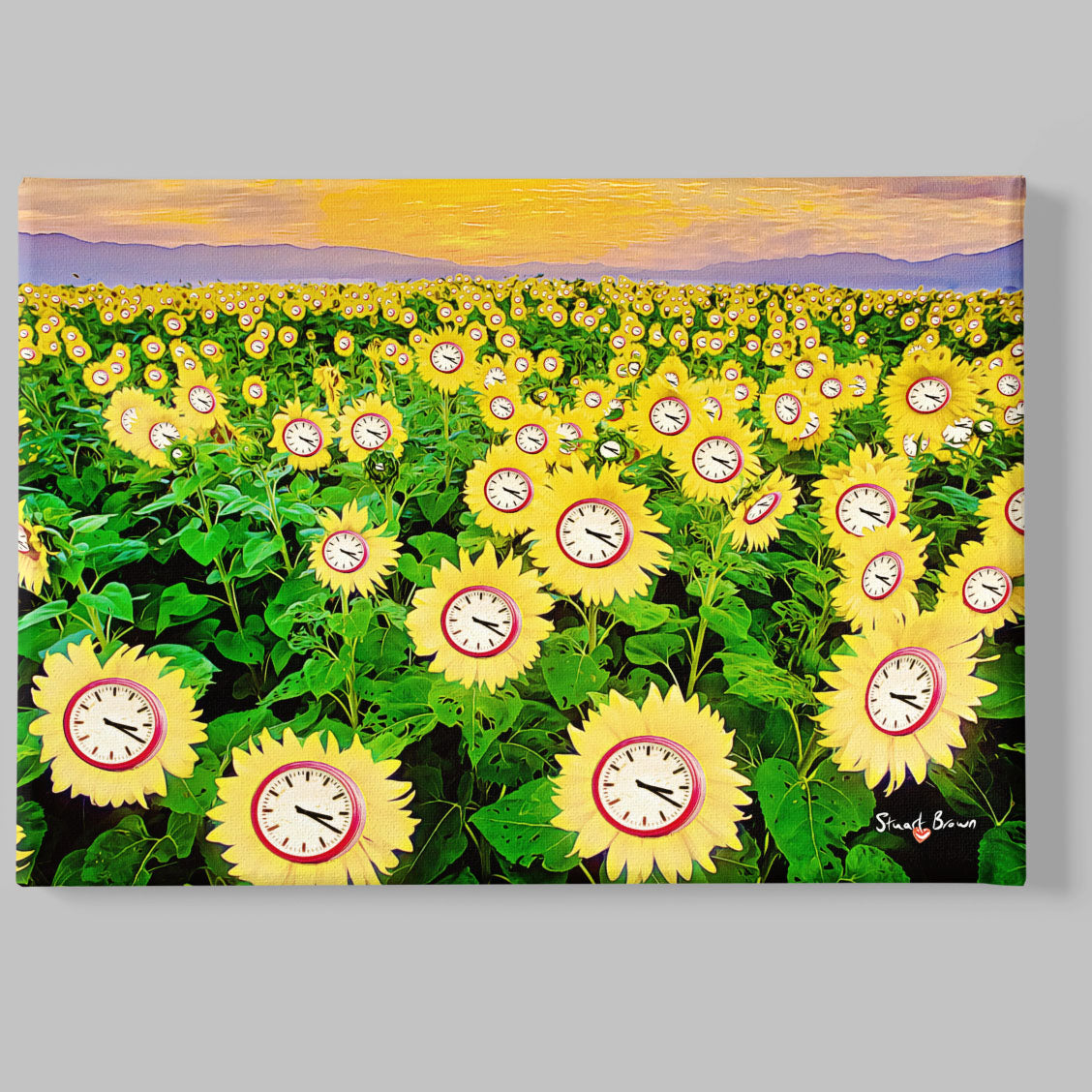 clock sunflowers art