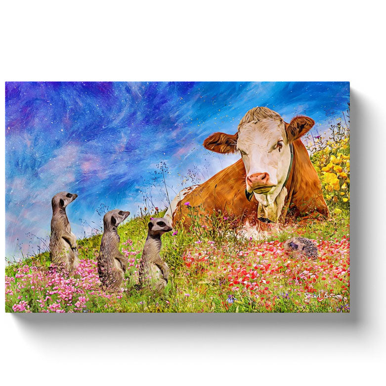 cow meerkats and a hedgehog on a spring hilltop