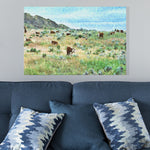 cows grazing on grassland canvas print
