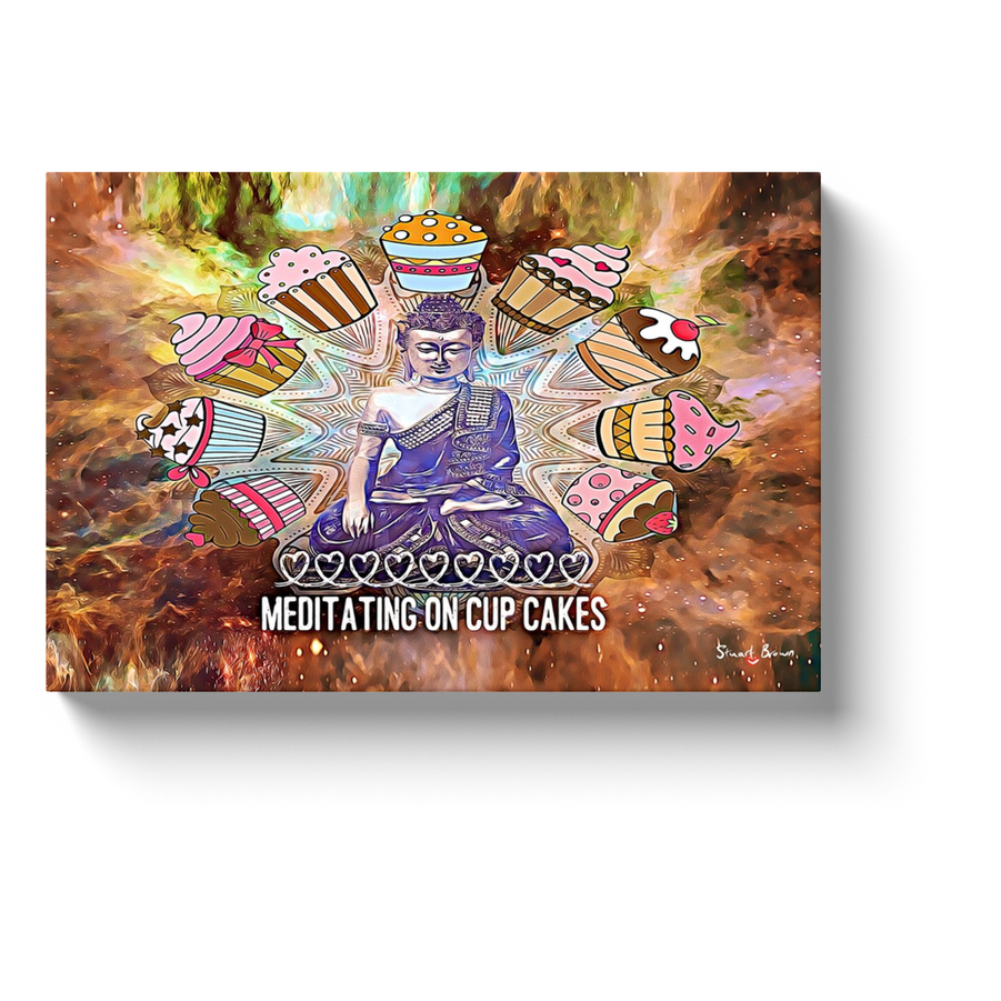 cupcake art meditating on cup cakes canvas print