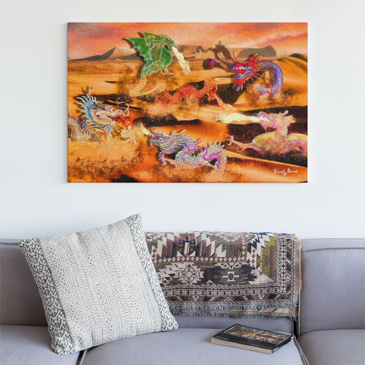dragon battle wall art print