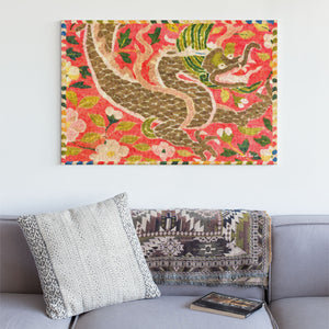 dragon in a sea of flowers wall art