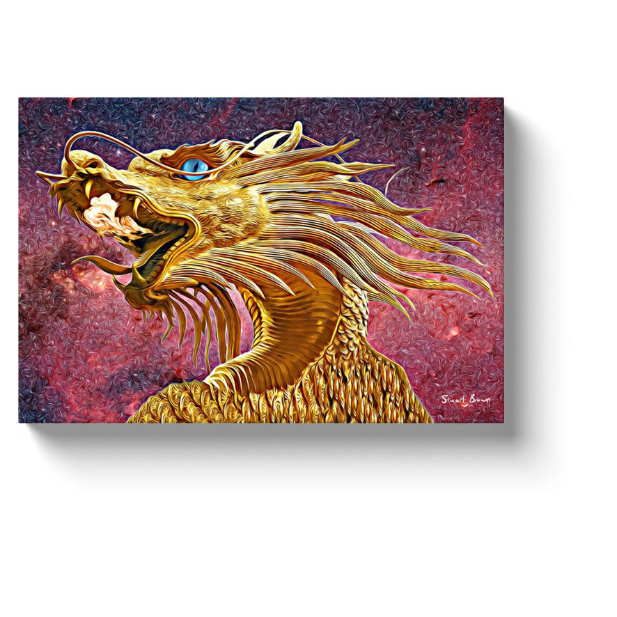 golden dragon art blue eyed golden dragon beneath a flaming red sky canvas print