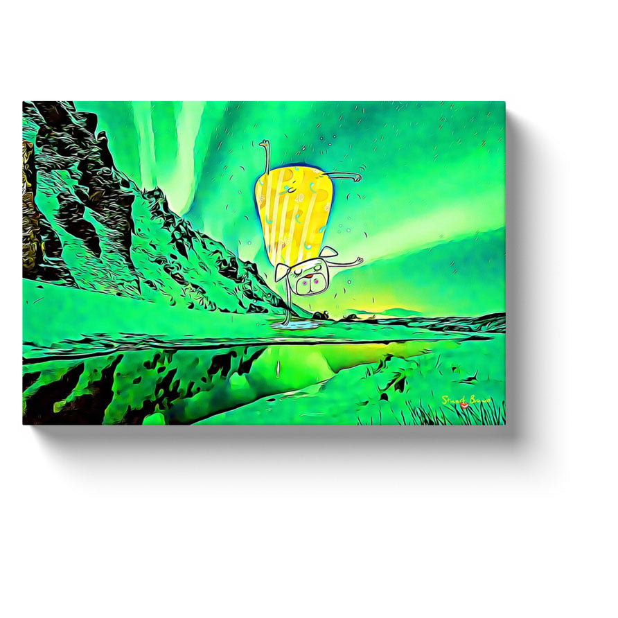 green aurora borealis sky yoga dog canvas art