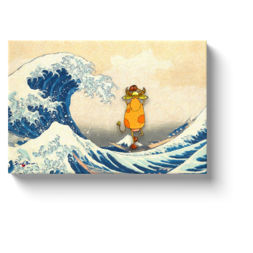 hokusai wave art yoga cow practices yoga asanas on a boat