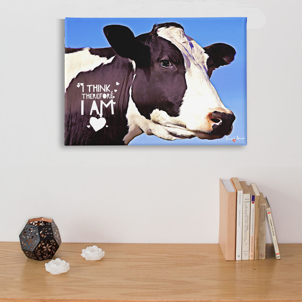 I think therefore I am philosophical cow canvas print