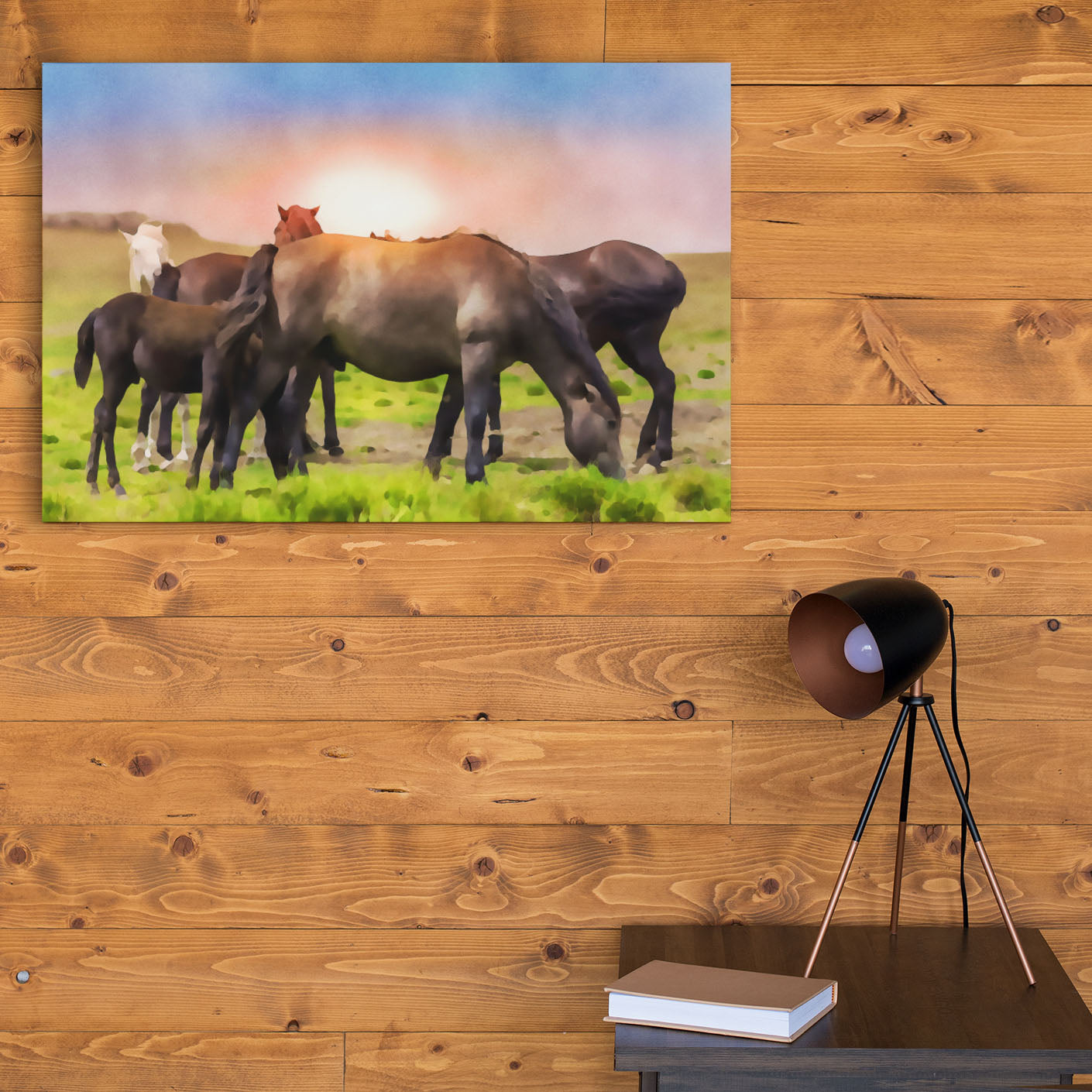 large group of horses art