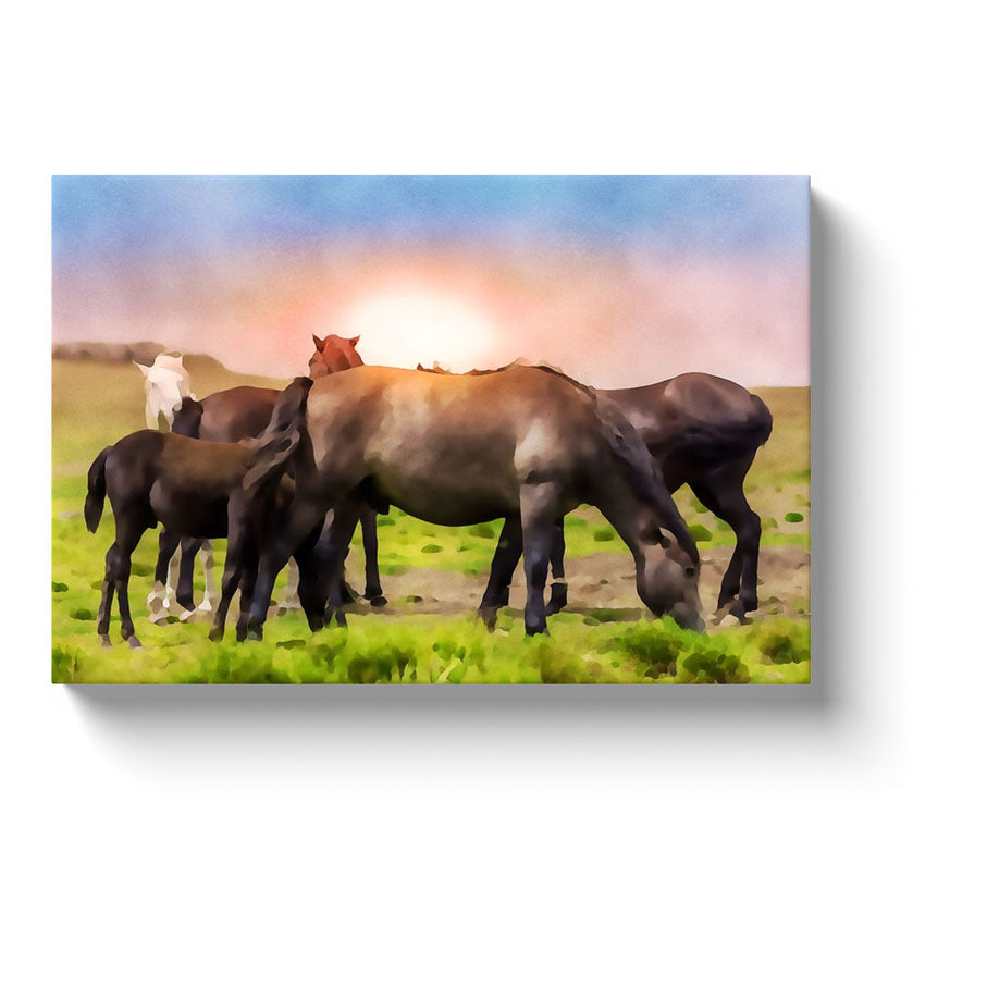 large group of horses at sunrise watercolor on canvas