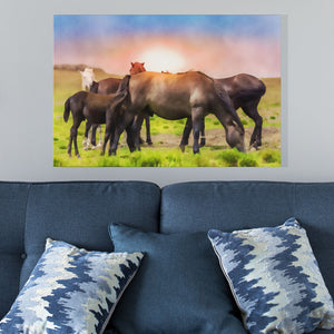 large group of horses canvas print