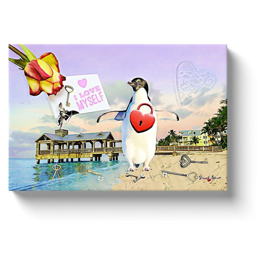 love canvas i love myself key to my heart penguin art print