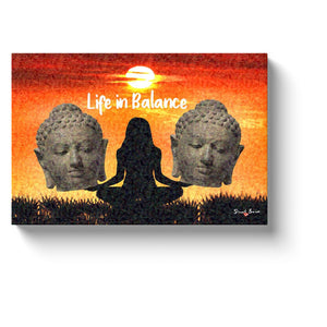 meditation wall art life in balance meditating canvas print
