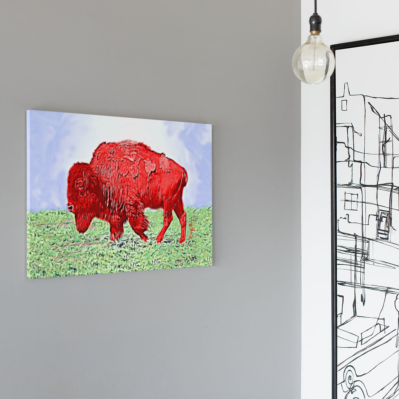 modern andy warhol style red bison art