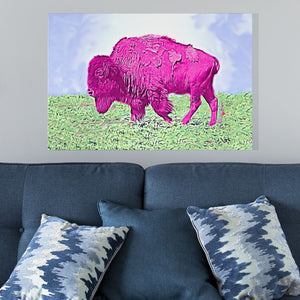 modern pink bison wall art
