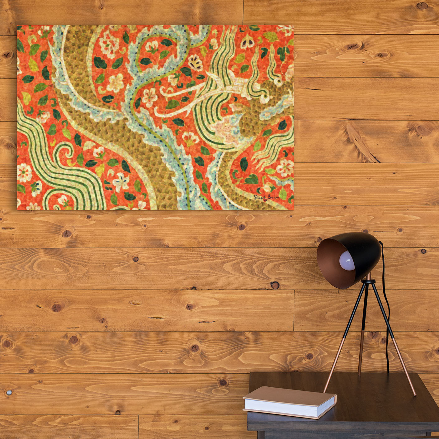 orange dragon wall art