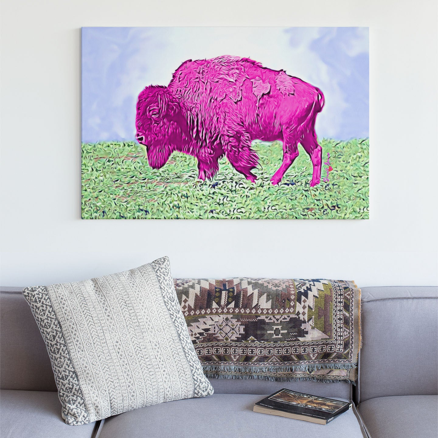 pink bison wall art