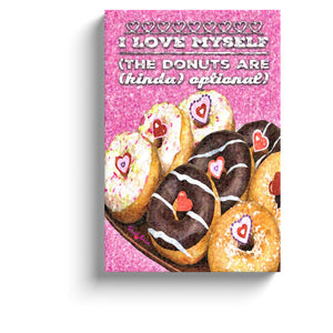 pink wall art donut art  i love myself the donuts are kinda optional wall art canvas print